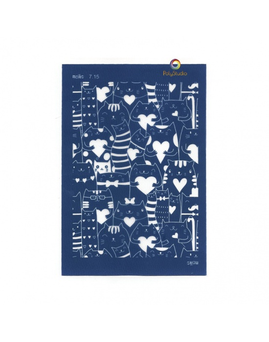 Moïko silk screen Cats in love