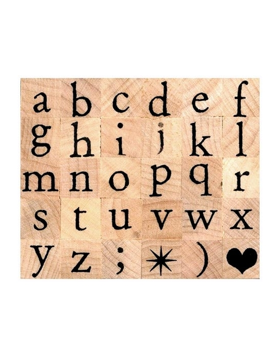 Alphabet serif relief lowercase letters stamps