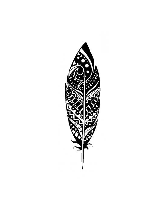 Tampon Bois Plume décorée