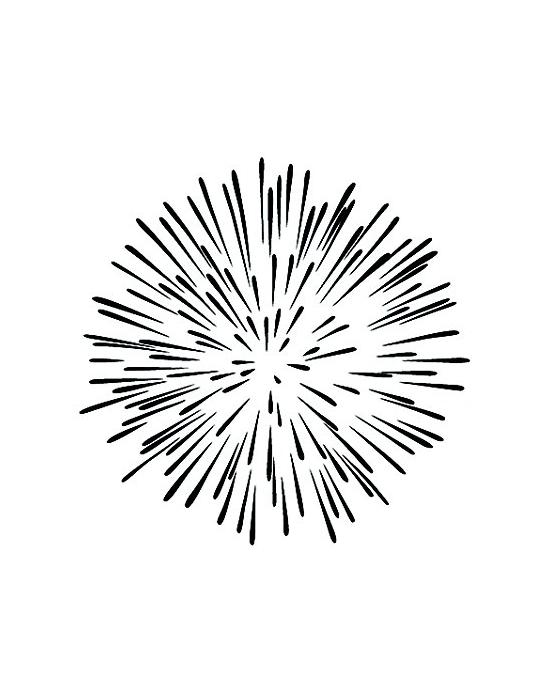 Tampon Bois Feu d'artifice - 5 x 5 cm