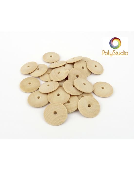 26 perles bois lentilles bombées