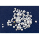 White pearly half round beads