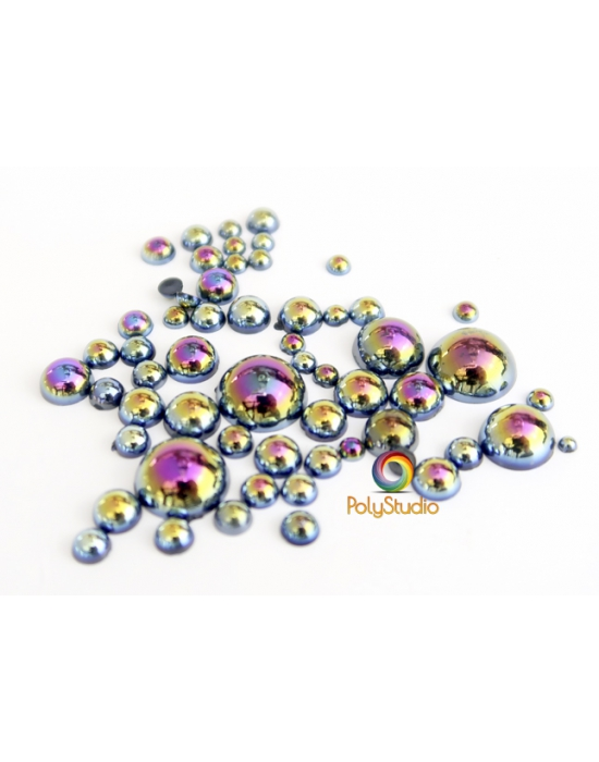 Black iridescent half round beads