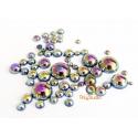 Demi perles rondes irisées noires