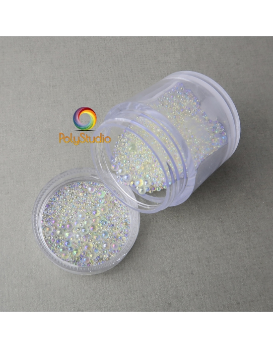 Micro iridescent glass beads