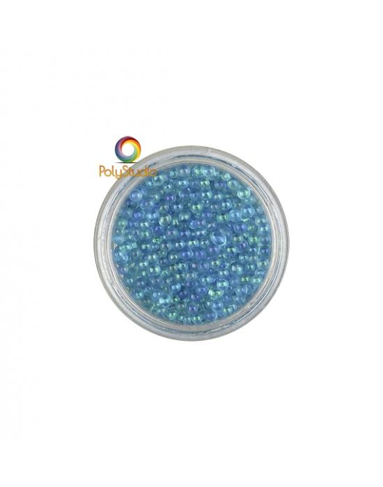 Micro perles turquoise irisées verre