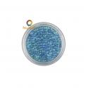 Turquoise iridescent round glass micro beads