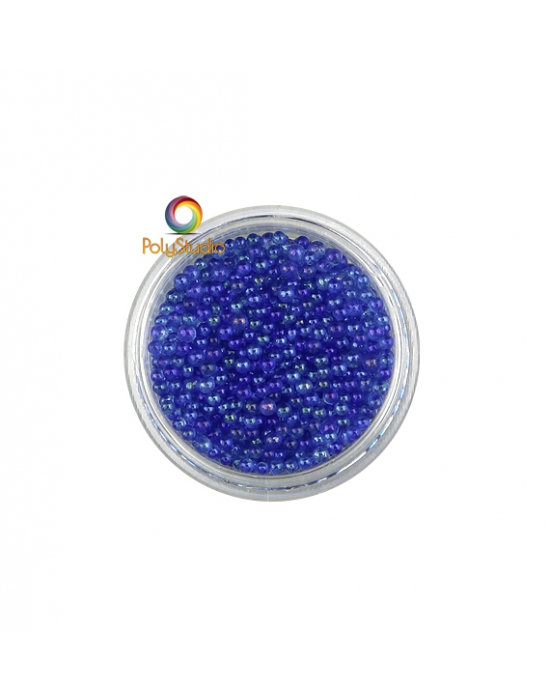 Blue iridescent round glass micro beads
