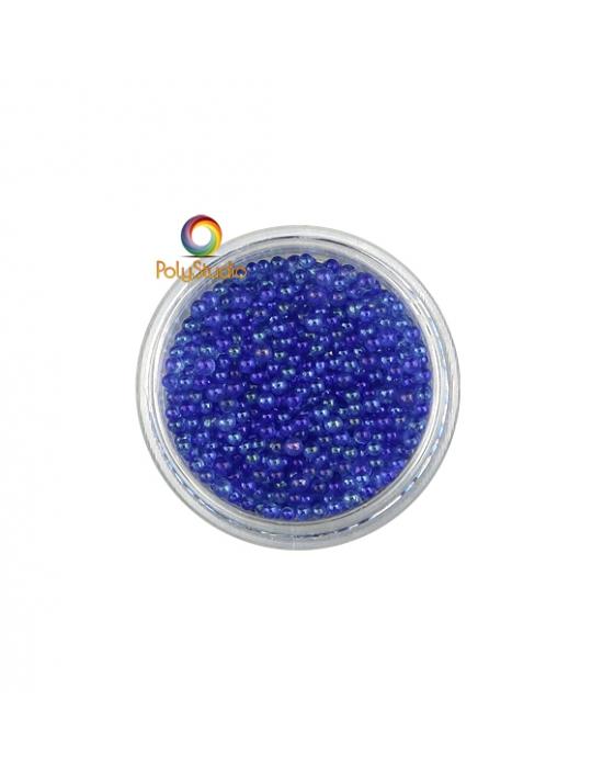 Blue iridescent round glass micro beads