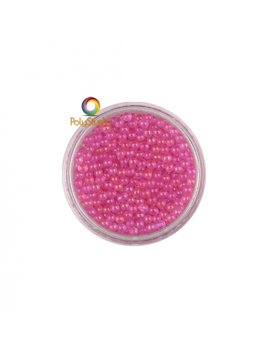 Micro perles verre Rose vif irisées