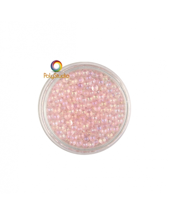 Antique Pink iridescent round glass micro beads