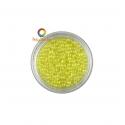 Yellow iridescent round micro glass beads