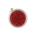 Red iridescent round micro glass beads