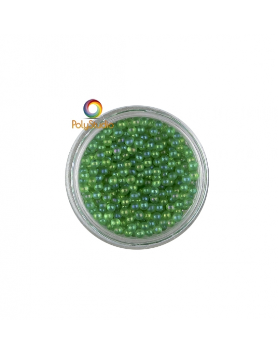 Green iridescent round micro glass beads