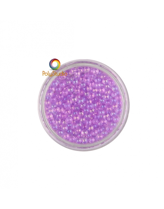 Lilac iridescent round micro glass beads