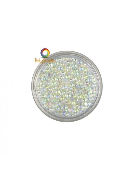 Iridescent round micro glass beads