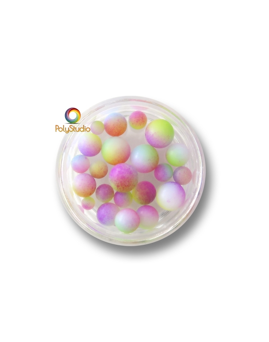 Color gradient round beads Multicolored Pastel