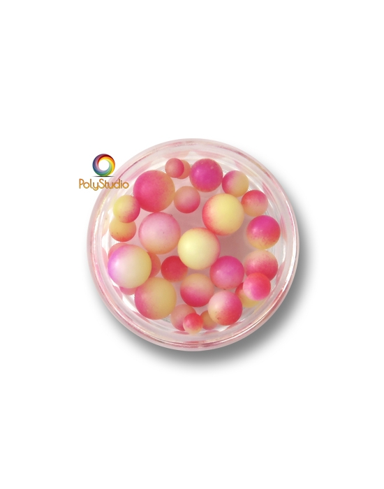 Color gradient round beads Fuchsia Yellow White