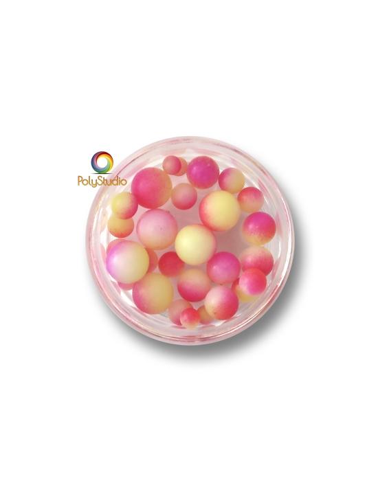 Color gradient round beads Fuchsia Yellow White