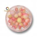 Perles rondes dégradées Rose Jaune Blanc