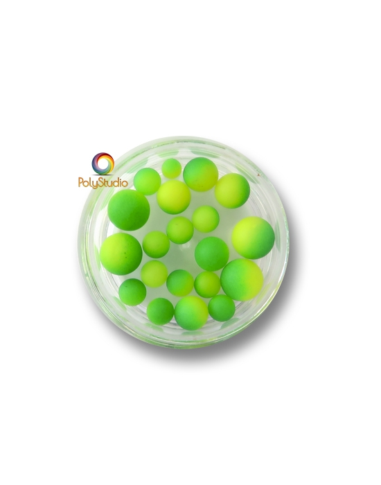 Color gradient round beads Green Yellow