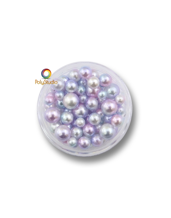 85 Pastel blue pink color gradient pearly round beads