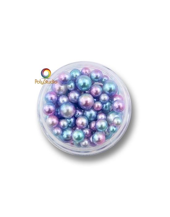85 Blue pink color gradient pearly round beads