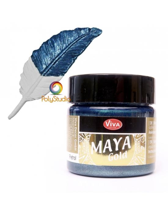 Petrol blue Maya Gold paint
