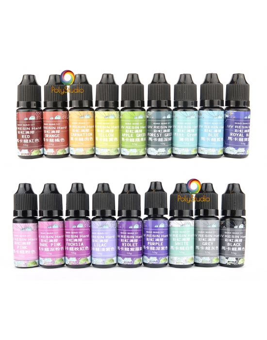 18 opaque colored UV resin bottles set