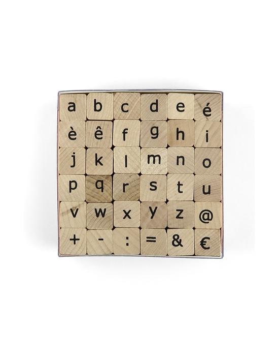 Alphabet sans serif lowercase letters stamps